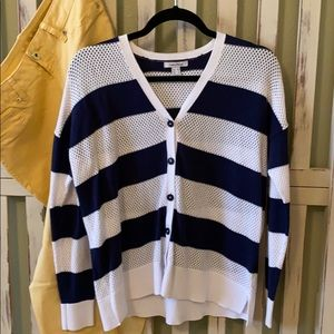 Nautical Navy/White Striped Cardigan